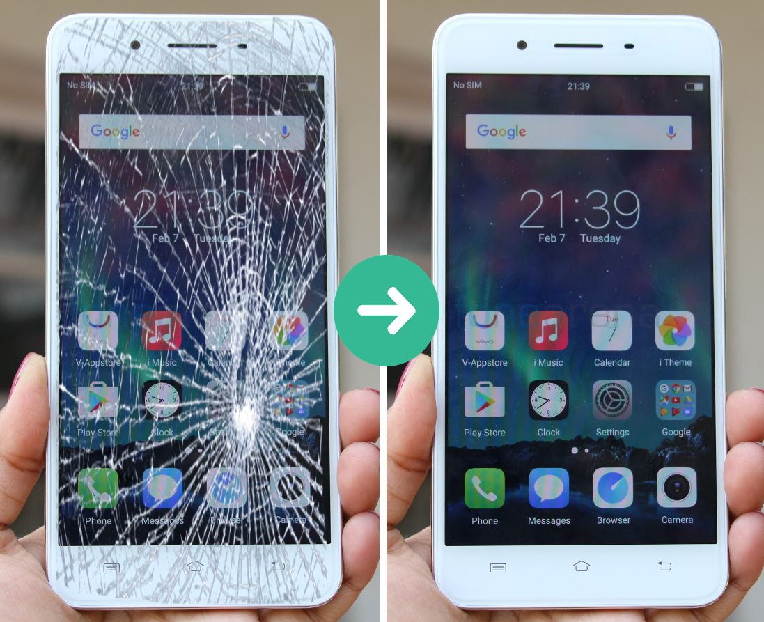 Điện thoại Vivo chỉ vỡ mặt kính . Màn hình hiển thị bình thường